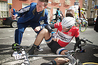 Stage winner Marcel Kittel (DEU/Giant-Shimano) collapses at the end of the finish straight.<br /> The German needed to dig extremely deep to secure his 2nd Giro win. <br /> A (rather disrespectful)bystander had nothing better to do than snap a selfie of the occasion...<br /> <br /> Giro d'Italia 2014<br /> stage 3: Armagh (NI) - Dublin (IRL) 187km