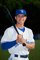 Bluefield Blue Jays Rafael Lantigua (25) poses for a photo before a game against the Bristol Pirates on July 26, 2018 at Bowen Field in Bluefield, Virginia.  Bristol defeated Bluefield 7-6.  (Mike Janes/Four Seam Images)