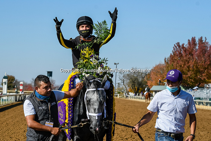 November 7, 2020 : Knicks Go, ridden by Joel Rosario, wins the Big Ass Fans Dirt Mile on Breeders' Cup Championship Saturday at Keeneland Race Course in Lexington, Kentucky on November 7, 2020. Jessica Morgan/Breeders' Cup/Eclipse Sportswire/CSM