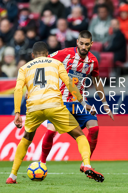 Yannick Ferreira Carrasco (R) of Atletico de Madrid competes for the ball with Jonas Ramalho Chimeno of Girona FC during the La Liga 2017-18 match between Atletico de Madrid and Girona FC at Wanda Metropolitano on 20 January 2018 in Madrid, Spain. Photo by Diego Gonzalez / Power Sport Images