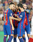 FC Barcelona's Munir El Haddadi, Leo Messi, Arda Turan and Aleix Vidal celebrate goal during Supercup of Spain 2nd match.August 17,2016. (ALTERPHOTOS/Acero)