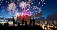 Spectacular fireworks during the annual Fourth of July celebration at Ala Moana Beach Park, O'ahu.