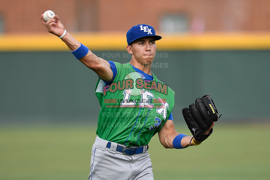 Infielder Manny Olloque (3) of the Lexington Legends warms up before a game against the Greenville Drive on Friday, June 30, 2017, at Fluor Field at the West End in Greenville, South Carolina. Lexington won, 17-7. (Tom Priddy/Four Seam Images)