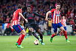 Atletico de Madrid Diego Godin and Gabi Fernandez and Arsenal FC Danny Welbeck during Europa League Semi Finals First Leg match between Atletico de Madrid and Arsenal FC at Wanda Metropolitano in Madrid, Spain. May 03, 2018.  (ALTERPHOTOS/Borja B.Hojas)