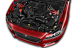 Car Stock 2018 Jaguar XF 35t-R-Sport 4 Door Sedan Engine  high angle detail view