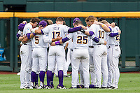 LSU Tigers team prayer before the NCAA College World Series game against the TCU Horned Frogs on June 14, 2015 at TD Ameritrade Park in Omaha, Nebraska. TCU defeated LSU 10-3. (Andrew Woolley/Four Seam Images)
