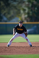 Brock Reid (21), from Chandlerville, Illinois, while playing for the Pirates during the Baseball Factory Pirate City Christmas Camp & Tournament on December 28, 2017 at Pirate City in Bradenton, Florida.  (Mike Janes/Four Seam Images)
