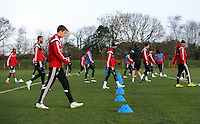 Pictured: Players walking back to base after sprinting Wednesday 10 December 2014<br />