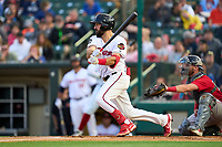 Rochester Red Wings Jake Noll (18) bats during a game against the Worcester Red Sox on September 3, 2021 at Frontier Field in Rochester, New York.  (Mike Janes/Four Seam Images)