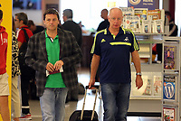 Wednesday 28 August 2013<br /> Pictured: Leigh Dineen and Alun Cowie at Cardiff Airport.<br /> Re: Swansea City FC players and staff en route for their UEFA Europa League, play off round, 2nd leg, against Petrolul Ploiesti in Romania.