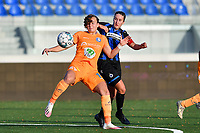 Lobke Loonen (19 Gent) pictured in a duel with Ellen Martens (2 Brugge) during a female soccer game between Club Brugge Dames YLA and AA Gent Ladies on the sixth matchday of the 2020 - 2021 season of Belgian Scooore Womens Super League , saturday 7 th November 2020  in Knokke , Belgium . PHOTO SPORTPIX.BE | SPP | DAVID CATRY