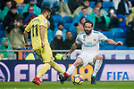 Daniel Carvajal Ramos (R) of Real Madrid fights for the ball with Jaume Vicent Costa Jorda, J Costa, of Villarreal CF during the La Liga 2017-18 match between Real Madrid and Villarreal CF at Santiago Bernabeu Stadium on January 13 2018 in Madrid, Spain. Photo by Diego Gonzalez / Power Sport Images