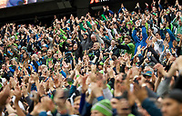 SEATTLE, WA - NOVEMBER 10: The Seattle Sounders fans celebrate after a goal during a game between Toronto FC and Seattle Sounders FC at CenturyLink Field on November 10, 2019 in Seattle, Washington.