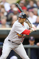 April 2, 2010: Felipe Lopez of the St. Louis Cardinals in the first professional baseball game played at the Minnesota Twins new home, Target Field. Photo by: Chris Proctor/Four Seam Images