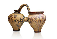 Minoan decorated double ewer with crocus flower  design,  Poros Heraklion 1800-1650 BC;  Heraklion Archaeological  Museum, white background