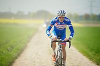 James Vanlandschoot (BEL/Wanty-GroupeGobert) with 'loose hands'<br /> <br /> 2014 Paris-Roubaix reconnaissance