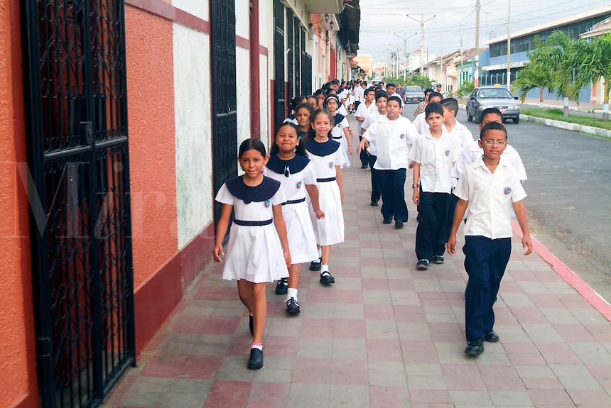 Nicaraguran School Children walking in Granada, Nicaragua.