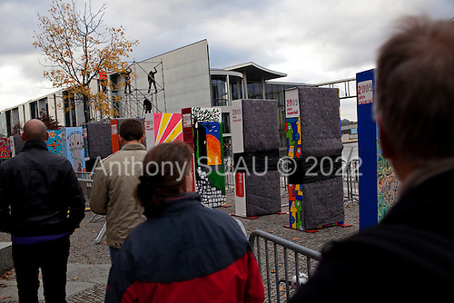 Berlin, Germany<br /> November 6, 2009<br /> <br /> Marking the place where the wall once stood 20 years ago, wall type pieces are set up to knock down on November 9 to mark the 20th anniversary of the fall of the Berlin Wall.