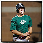 Jack Gallagher (21) of the University of South Carolina Upstate Spartans Green team reacts to his teammates after sliding home with a run in the Green and Black Fall World Series Game 4 on Wednesday, November 4, 2020, at Cleveland S. Harley Park in Spartanburg, South Carolina. Green won, 8-0. (Tom Priddy/Four Seam Images)