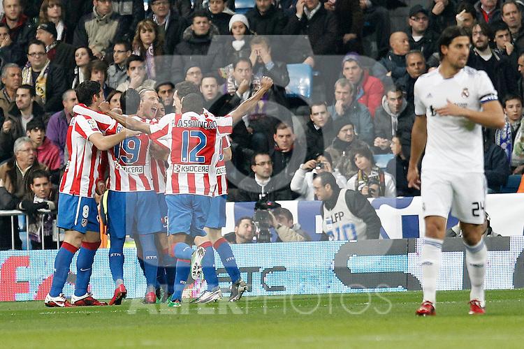 Atletico de Madrid's Diego Forlan goal during spanish cup match on January 13th 2011...Photo: Cesar Cebolla / ALFAQUI