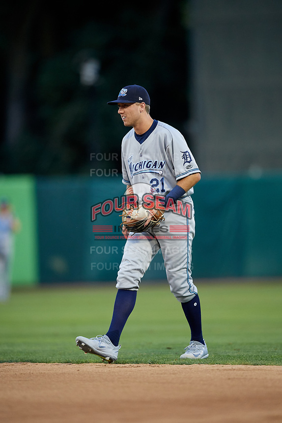 West Michigan Whitecaps second baseman Kody Clemens (21) during a game against the Kane County Cougars on July 19, 2018 at Northwestern Medicine Field in Geneva, Illinois.  Kane County defeated West Michigan 8-5.  (Mike Janes/Four Seam Images)