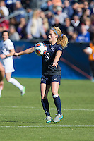 Cary, North Carolina - Sunday December 6, 2015: Emily Ogle (10) of the Penn State Nittany Lions traps the ball with her chest during first half action against the Duke Blue Devils at the 2015 NCAA Women's College Cup at WakeMed Soccer Park.  The Nittany Lions defeated the Blue Devils 1-0.