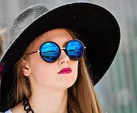 France, Paris , May 27, 2015, Tennis, Roland Garros, spectator geflest stadium Susan Lengelen in her glasses<br /> Photo: Tennisimages/Henk Koster