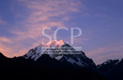 Inca Trail, Peru. Snowcapped peak of mount Salkantaay as seen from Phuyupatamarca campsite at dawn.