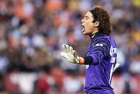 Memo Ochoa calls out to his teammates. Real Madrid defeated Club America 3-2 at Candlestick Park in San Francisco, California on August 4th, 2010.