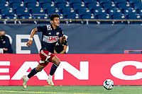 FOXBOROUGH, MA - AUGUST 26: Nicolas Firmino #29 of New England Revolution II on the attack during a game between Greenville Triumph SC and New England Revolution II at Gillette Stadium on August 26, 2020 in Foxborough, Massachusetts.