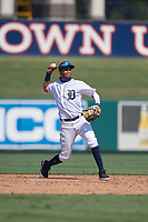 Detroit Tigers shortstop Carlos Irigoyen (43) throws to first base during a Florida Instructional League intrasquad game on October 17, 2020 at Joker Marchant Stadium in Lakeland, Florida.  (Mike Janes/Four Seam Images)