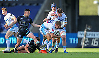24th April 2021; Liberty Stadium, Swansea, Glamorgan, Wales; Rainbow Cup Rugby, Ospreys versus Cardiff Blues; Max Llewellyn of Cardiff Blues evades the attempted tackle by Josh Thomas of Ospreys