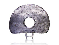 "Bronze Age Hattian ceremonial standard known as ""Sun Disks"" in silver from a possible Bronze Age Royal grave (2500 BC to 2250 BC) - Alacahoyuk - Museum of Anatolian Civilisations, Ankara, Turkey. Against a white background"