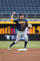 Robbie Tenerowicz (1) of the California Golden Bears makes a throw to first base against the Duke Blue Devils at Durham Bulls Athletic Park on February 20, 2016 in Durham, North Carolina.  The Blue Devils defeated the Golden Bears 6-5 in 10 innings.  (Brian Westerholt/Four Seam Images)