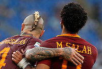 Calcio, Serie A: Roma vs Udinese. Roma, stadio Olimpico, 20 agosto 2016.<br /> Roma's Mohamed Salah, right, celebrates with teammate Radja Nainggolan after scoring during the Italian Serie A football match between Roma and Udinese at Rome's Olympic Stadium, 20 August 2016. Roma won 4-0.<br /> UPDATE IMAGES PRESS/Riccardo De Luca