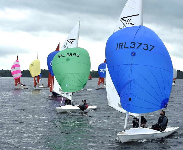 Squibs and Flying Fifteens picking up speed as the breeze builds at Dromineer, with FFs Triggers Bush (3896, Lee Statham & Andy Paul, Waterford Harbour SC) and Duff Extra (3737, Gavin Doyle & Dave Sweeney, National YC) keeping their wind clear