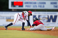 Carson Crites (39) of the Elizabethton Twins slides into second base ahead of the tag by Danville Braves shortstop Nicholas Shumpert (1) at American Legion Post 325 Field on July 1, 2017 in Danville, Virginia.  The Twins defeated the Braves 7-4.  (Brian Westerholt/Four Seam Images)
