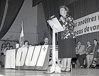 FILE PHOTO - PQ Minister Lise Payette and Claude Morin campaign for the OUI in Sainte-Foy, near Quebec City, during the referendum, April 23,1983.<br /> <br /> On May 20, the referendum ; the OUI (to Quebec's separation) option was rejected.<br /> <br /> PHOTO : Helene Villeneuve - Agence Quebec Presse