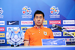 The coach and one of the players of SHANDONG LUNENG FC (CHN) speak at the pre-match press conference on 03 May 2016, one day before the 2016 AFC Champions League Group F Match Day 6 match between BURIRAM UNITED (THA) vs SHANDONG LUNENG FC (CHN) in Buriram, Thailand.