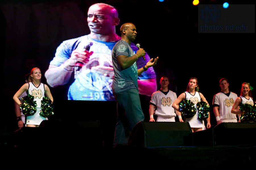 Jan 5, 2013; Former Notre Dame quarterback Tony Rice speaks during the pep rally on South Beach. Notre Dame will be squaring off against the Alabama Crimson Tide in the 2013 BCS National Championship Monday night. Photo by Barbara Johnston/University of Notre Dame..