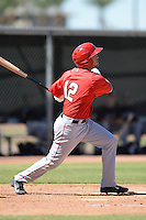 Los Angels Angels of Anaheim outfielder Andrew Ray (12) during an instructional league game against the Colorado Rockies on September 30, 2013 at Tempe Diablo Stadium Complex in Tempe, Arizona.  (Mike Janes/Four Seam Images)