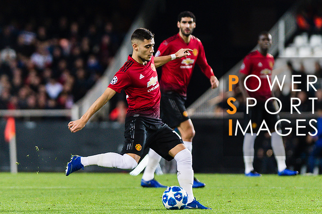 Andreas Pereira of Manchester United looks to bring the ball down during the UEFA Champions League 2018-19 match between Valencia CF and Manchester United at Estadio de Mestalla on December 12 2018 in Valencia, Spain. Photo by Maria Jose Segovia Carmona / Power Sport Images