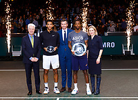 Rotterdam, The Netherlands, 16 Februari 2020, ABNAMRO World Tennis Tournament, Ahoy,<br /> Mens Single Final:  Prizegiving: ltr: the CEO of the ABNAMRO Bank Kees van Dijkhuizen, runner up Felix Auger-Aliassime (CAN), tournament dirctor Richard Krajicek, winner Gaël Monfils (FRA) and director Ahoy Jolanda Jansen<br /> Photo: www.tennisimages.com
