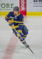 21 February 2015:  Merrimack College Warrior Forward Jace Hennig, a Freshman from Port Moody, British Columbia, in first period action against the University of Vermont Catamounts at Gutterson Fieldhouse in Burlington, Vermont. The teams played to a scoreless tie as the Cats wrapped up their Hockey East regular home season. Mandatory Credit: Ed Wolfstein Photo *** RAW (NEF) Image File Available ***