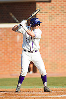 Josh Spano (21) of the High Point Panthers at bat against the Bowling Green Falcons at Willard Stadium on March 9, 2014 in High Point, North Carolina.  The Falcons defeated the Panthers 7-4.  (Brian Westerholt/Four Seam Images)
