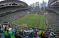 SEATTLE, WA - NOVEMBER 10: A general view of fans cheering before the MLS Cup during a game between Toronto FC and Seattle Sounders FC at CenturyLink Field on November 10, 2019 in Seattle, Washington.