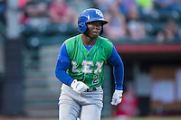 D.J. Burt (2) of the Lexington Legends hustles down the first base line during the game against the Hickory Crawdads at L.P. Frans Stadium on April 29, 2016 in Hickory, North Carolina.  The Crawdads defeated the Legends 6-2.  (Brian Westerholt/Four Seam Images)