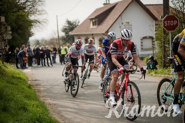 John DEGENKOLB (DEU/Trek-Segafredo) up the first climb of the day: the Catsberg<br /> <br /> 81st Gent-Wevelgem 'in Flanders Fields' 2019<br /> One day race (1.UWT) from Deinze to Wevelgem (BEL/251km)<br /> <br /> ©kramon