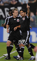 DC United forward Jaime Moreno (99) celebrates his second goal from a penalty kick in the 52nd minute with teammate Bryan Namoff (26). DC United defeated Real Salt Lake 4-1, at RFK Stadium in Washington DC, Saturday April 26, 2008.