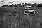French landscape cars dumped in fields . Scrap metal 1960s Normandy France. 1967